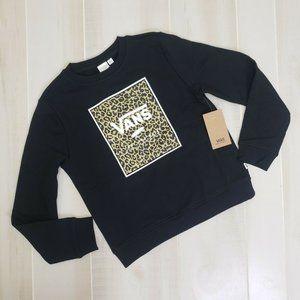 Vans Girls New Pullover Sweatshirt Black Leopard